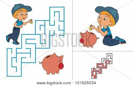 Riddle game. One cartoon baby boy play with pig bank and coin.