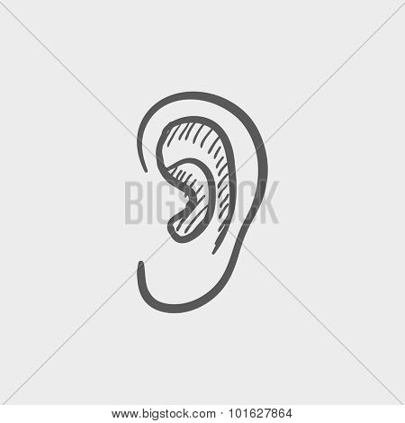 Human ear sketch icon for web, mobile and infographics. Hand drawn vector dark grey icon isolated on light grey background.
