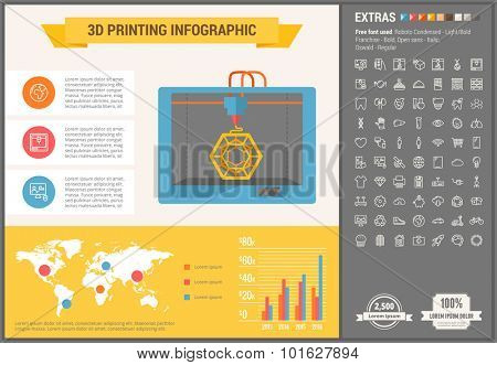 Three D printing infographic template and elements. The template includes illustrations of hipster men and huge awesome set of thin line icons. Modern minimalistic flat vector design.