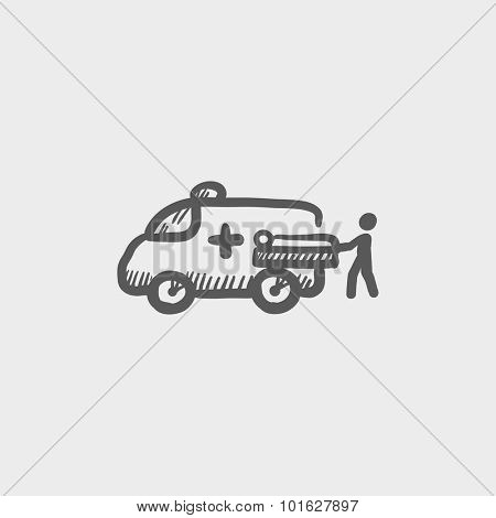 Man with patient and ambulance car sketch icon for web, mobile and infographics. Hand drawn vector dark grey icon isolated on light grey background.