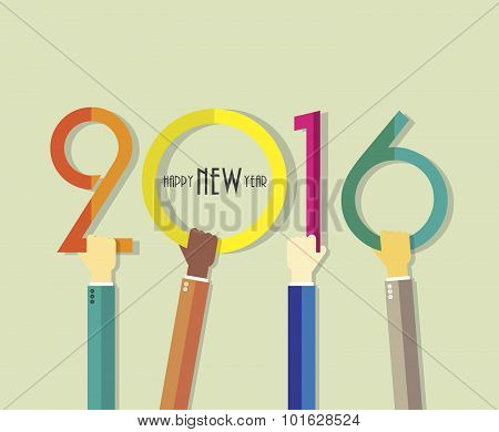 2016 Happy New Year Background With Hands For Your Greetings Card, Flyers, Invitation, Posters, Broc