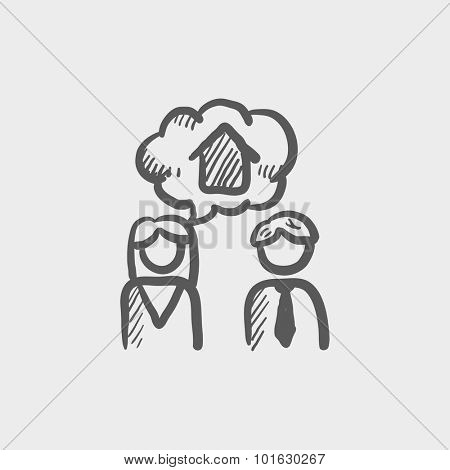 Couple dreaming about the house sketch icon for web, mobile and infographics. Hand drawn vector dark grey icon isolated on light grey background.
