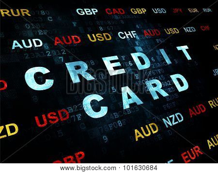 Currency concept: Credit Card on Digital background