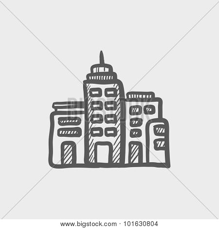 Residential buildings sketch icon for web, mobile and infographics. Hand drawn vector dark grey icon isolated on light grey background.