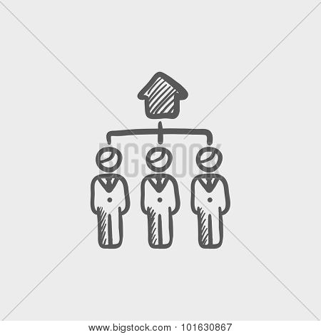 Three real estate agents sketch icon for web, mobile and infographics. Hand drawn vector dark grey icon isolated on light grey background.