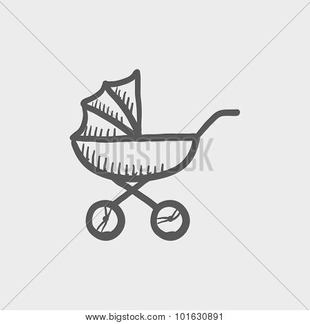 Baby stroller sketch icon for web, mobile and infographics. Hand drawn vector dark grey icon isolated on light grey background.