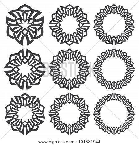 Nine decorative logo elements with stripes braiding