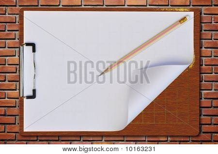 Wooden Writing Board As old Bric kwall Background
