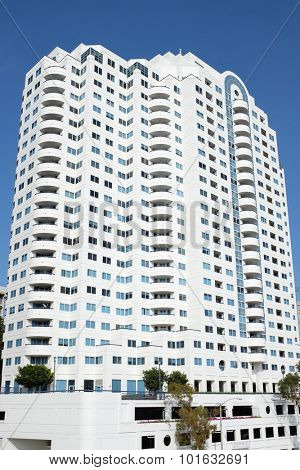 LONG BEACH, CA - FEBRUARY 21, 2015: Harbor Place Tower. An ocean view condominium building located on a lot that between Seaside Way and Ocean Blvd, Long Beach, CA.