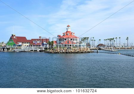 LONG BEACH, CA - FEBRUARY 21, 2015: Shoreline Village at Rainbow Harbor. Shoreline Village is a popular destination for locals and tourist.