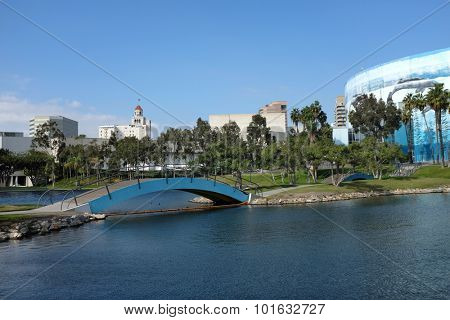 LONG BEACH, CA - FEBRUARY 21, 2015: Pond and bridge at the Long Beach Arena. The arena is part of the Long Beach Convention and Entertainment Center.