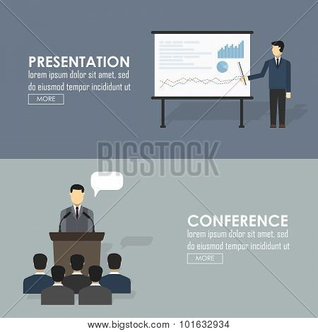 Public Speaking Flat Icons Set Of Business Presentation Political Debates Figure Speech Isolated Vec