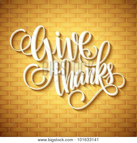 Thanksgiving Day Lettering. Vector illustration