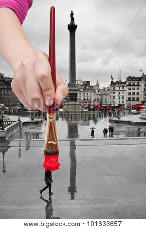Paintbrush Paints Red Umbrella In London