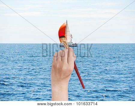 Paintbrush Paints Red Sail Of Yacht