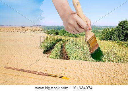 Paintbrush Paints Green Countryside In Sand Desert