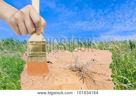 Hand With Paintbrush Paints Sand In Green Meadow