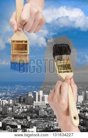 Paintbrush Paints Black And Blue Side Of City