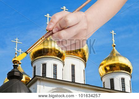 Painbrush Paints Golden Cupola On Russian Church