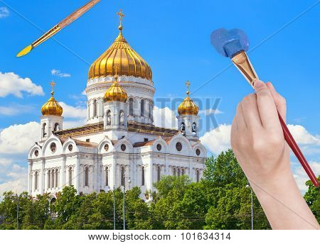 Painbrush Paints Blue Sky Over Russian Cathedral