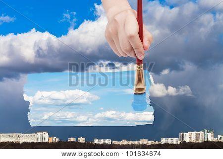 Paintbrush Paints Blue Sky Instead Of Rain