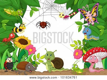 Cartoon happy little animals . vector illustration