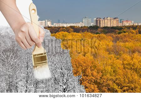 Paintbrush Paints Snowy Winter Forest From Autumn