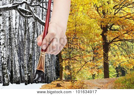 Paintbrush Paints Black Bare Trees In Winter Fores