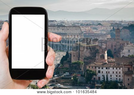 Smartphone With Cut Out Screen And Roman Coliseum