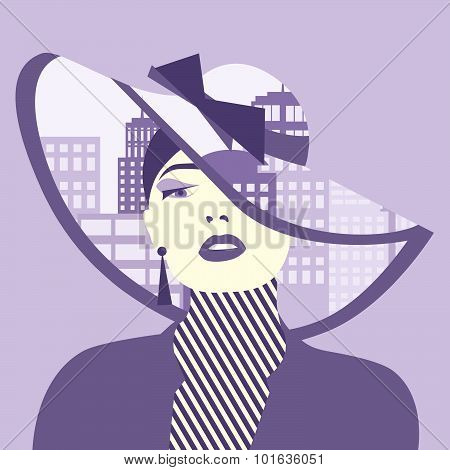 Vector Double Exposure Illustration. Woman With City In Her Hat