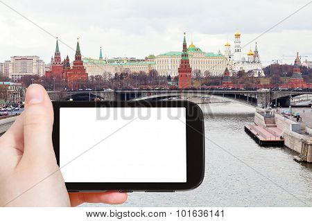 Smartphone With Cut Out Screen And Moskva River