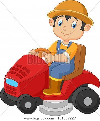 Cartoon Illustration of male gardener riding mowing with ride-on lawn mower