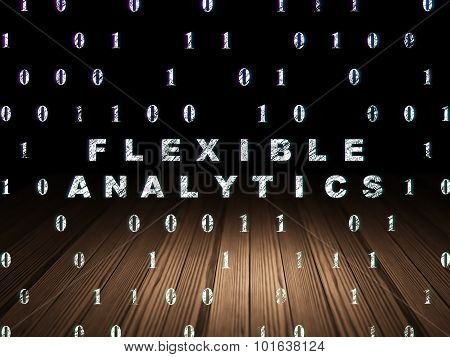 Finance concept: Flexible Analytics in grunge dark room