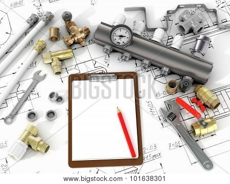 Plumbing Tools In The Drawings