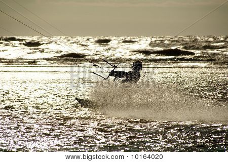 Kite Surfer In Silhouette
