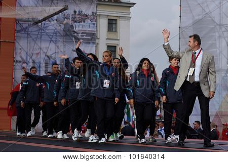 ST. PETERSBURG, RUSSIA - SEPTEMBER 7, 2015: Team Turkey during opening ceremony of the XI World Championship in Fire and Rescue Sport. First World Championship was held in 2002