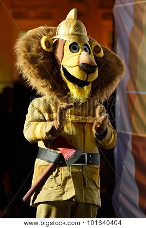 ST. PETERSBURG, RUSSIA - SEPTEMBER 7, 2015: Mascot of the XI World Championship in Fire and Rescue Sport during the opening ceremony. First World Championship was held in 2002