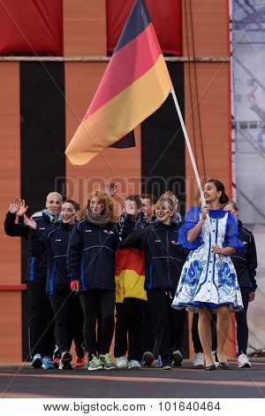 ST. PETERSBURG, RUSSIA - SEPTEMBER 7, 2015: Team Germany during opening ceremony of the XI World Championship in Fire and Rescue Sport. First World Championship was held in 2002