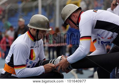 ST. PETERSBURG, RUSSIA - SEPTEMBER 9, 2015: Team Germany prepare for competitions in combat deployment during XI World Championship in Fire and Rescue Sport. First World Championship was held in 2002
