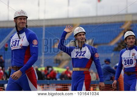ST. PETERSBURG, RUSSIA - SEPTEMBER 9, 2015: Team Czech Republic before competitions in combat deployment during XI World Championship in Fire and Rescue Sport. 1st World Championship was held in 2002