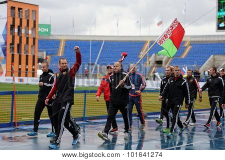 ST. PETERSBURG, RUSSIA - SEPTEMBER 9, 2015: Team Belarus after last competitions of XI World Championship in Fire and Rescue Sport. First World Championship was held in 2002