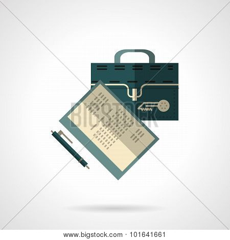 Briefcase and papers flat vector icon