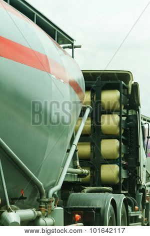 A Big Fuel Tanker Truck On The Road.