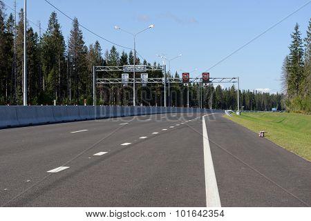 NOVOPRIOZERSK HIGHWAY, LENINGRAD OBLAST, RUSSIA - SEPTEMBER 11, 2015: Opening of new stretch of Novopriozersk highway. Construction began in 2013