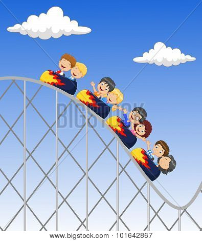 Cartoon little kid play in rollercoaster