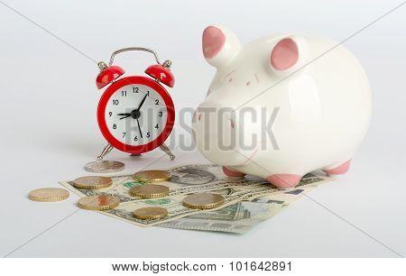 Piggy bank with cash
