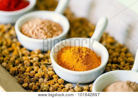 Small Bowls With Dried Spices.