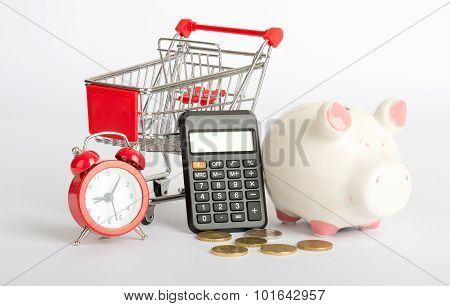 Shopping cart with coins
