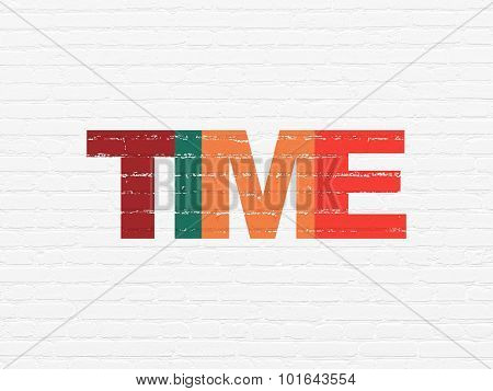 Time concept: Time on wall background