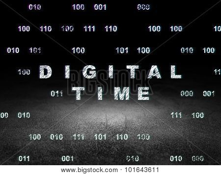 Timeline concept: Digital Time in grunge dark room